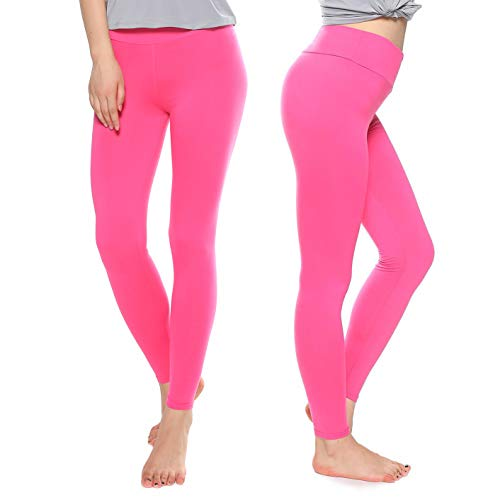 KT Super Soft Buttery Leggings - High Waisted Slimming Leggings - Womens Tummy Control Pants (Plus Size, Fuschia) -