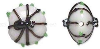 2 Lampwork Glass Opaque White /& Black Spider 15x13mm Coin Beads