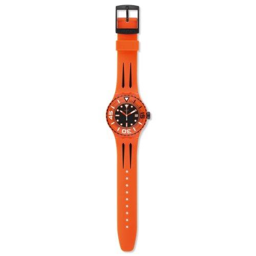 2013 Black Dial - Swatch Sundowner Black Dial Orange Plastic Mens Watch SUUO400