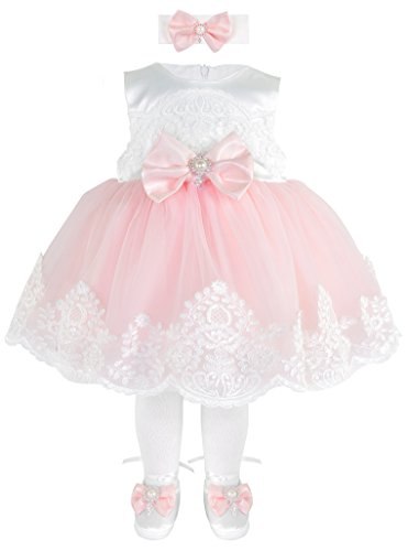 [Taffy Baby Girl Newborn Pink Embroidered Princess Pageant Dress Gown 6 Piece Deluxe Set 0-3 Months] (Princess Outfit Ideas)