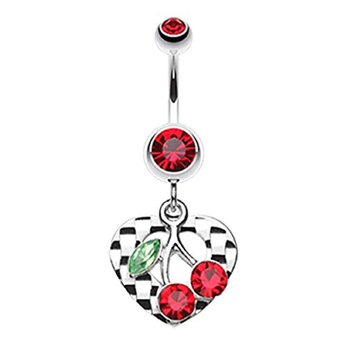 Charming Cherry Heart Belly Button Ring (14 GA, Length: 10mm, Red)