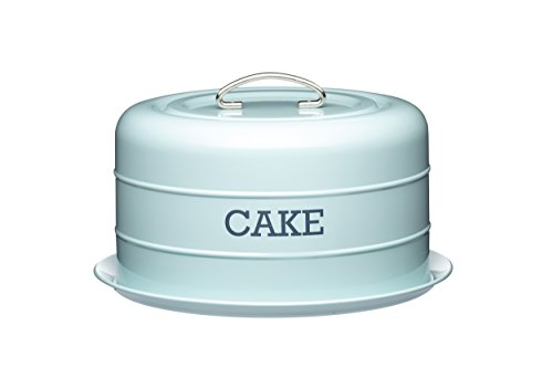 Kitchen Craft Living Nostalgia Airtight Cake Storage Tin/Cake Dome, 28.5 x 18 cm – Vintage Blue