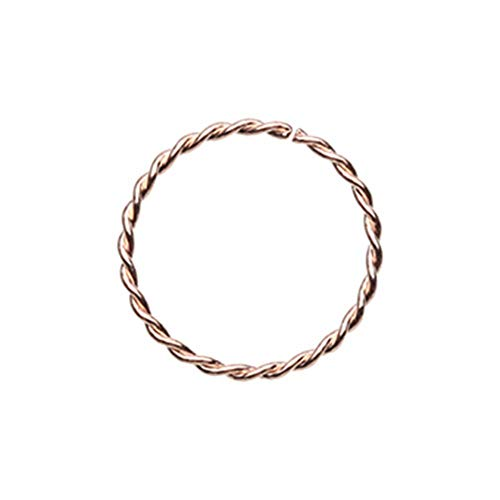 20 GA Rose Gold Twist Rope Steel Bendable Nose Hoop 316L Surgical Stainless Steel Body Piercing Jewelry Davana Enterprises