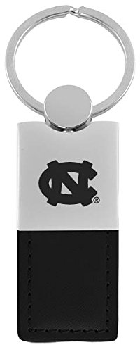 North Carolina Black Leather - University of North Carolina at Chapel Hill-Leather and Metal Keychain-Black