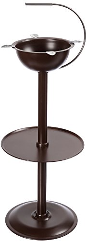 Stinky Cigar Floor Ashtray with Accessory Tray and Carry Handle, Windproof, 24-inch tall, 4 Stirrups, Chocolate Brown