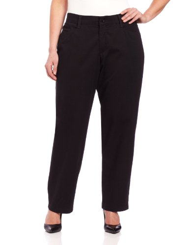 Lee Women's Plus-Size Relaxed Fit Plain Front Straight Leg Pant, Black, 22W Medium