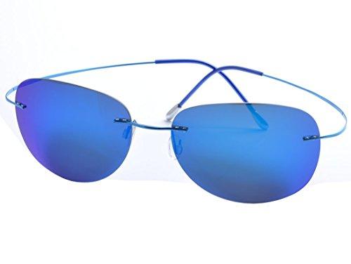 Plating Titanium Frame - De Ding Mens rimless titanium polarized Sunglasses (blue, blue)