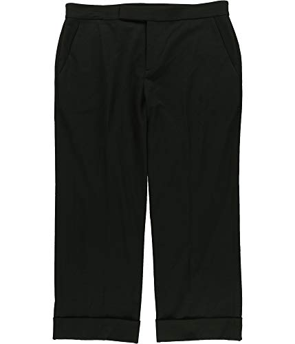Ralph Lauren Womens Solid Casual Cropped Pants, Black, 10