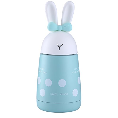 Polka Dot Bunny Stainless Steel Vacuum Insulated Water Bottle for Kids& Adults,Cute Rabbit Thermos Travel Mug for Hot/Cold Beverage,Leak-Proof Mini Insulated Water Bottle 300ml/10.5oz (Polka Dot Teal)