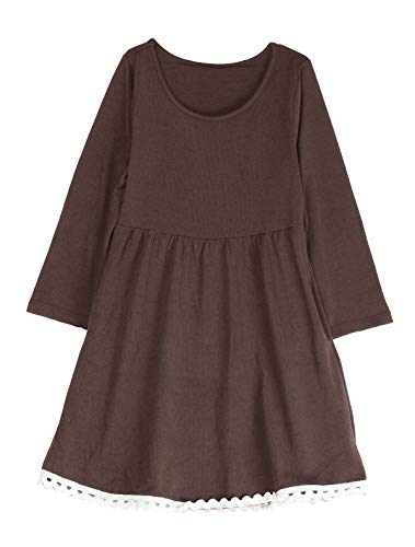 (Mallimoda Big Girl's Casual Long Sleeve Knit Dress with Lace Hem Brown 9-10)
