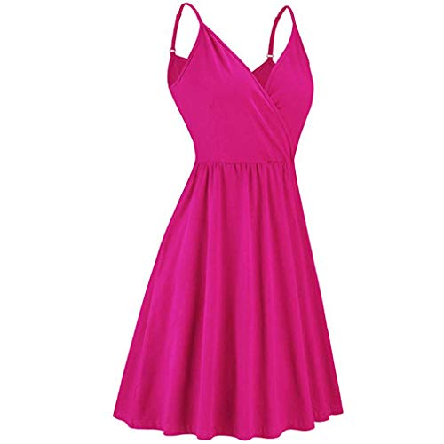 TUSANG Women Dress Summer V-Neck Strap Slim Comfy Skirts Casual Swing Dress with Pockets Dress(Hot Pink,US-12/CN-2XL)