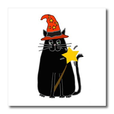 3dRose All Smiles Art Pets - Funny Cool Black Cat in Witch hat with Magic Wand Halloween - 10x10 Iron on Heat Transfer for White Material (Pic Of Halloween Cat)