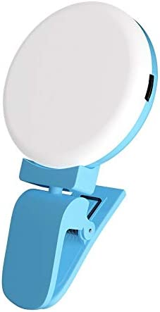 Color : Blue JYEMDV Mini Fill Light for Phone Clip Cold Light USB Charging Round Selfie Light Outdoor Live Lamp