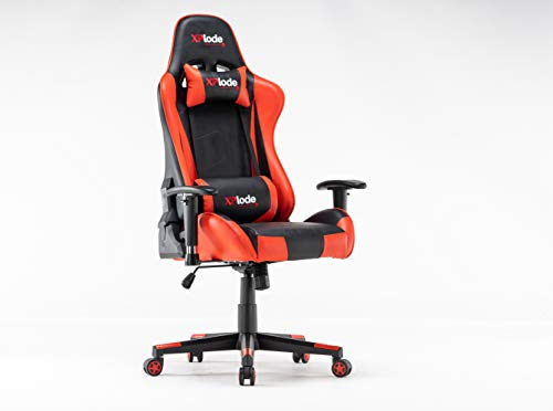 XPlode Gaming Chair Racing Office Computer Silla ergonómica para videojuegos Respaldo y asiento reclinable giratorio ajustable en altura con reposacabezas y almohada lumbar Silla de deportes (rojo)