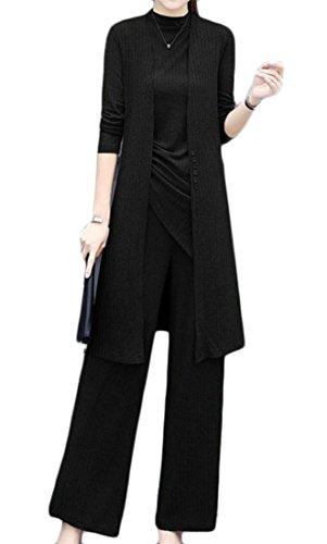 Cromoncent Women's 3 Pcs Modest Pure Color Tank Tops Cardigan Wide Leg Pants Casual Vogue Set Black XL