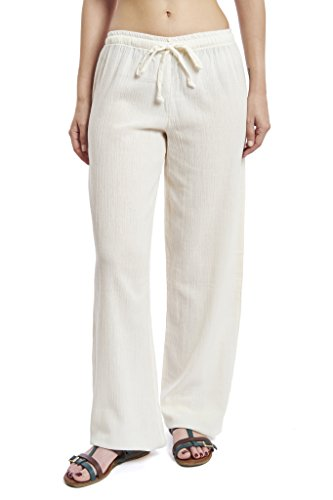 J & Ce Women's Gauze Cotton Beach and PJ Pants (Cream, Small)
