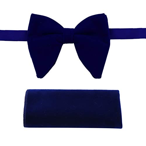 (Blue Oversized Bow Ties Handkerchiefs For Men Velvet Soild Dark Blue Big Pretied Bow Ties Hanky For Birthday Dan Smith C.C.O.S.008)