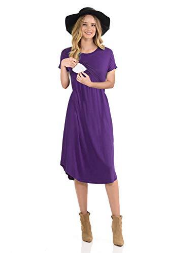 CzzzyL Dress for Work, Womens Double Layers A Line Postpartum Clothes with Discreet Breastfeeding Knit Stylist Nursing Mama -