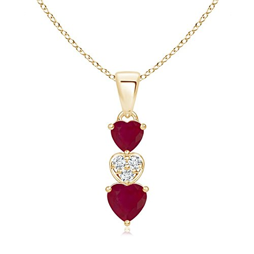 - Dangling Ruby and Diamond Triple Heart Pendant in 14K Yellow Gold (5mm Ruby)