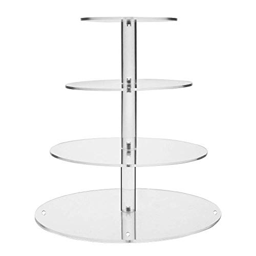 - Display4top Clear Acrylic Glass Cupcake Stand For Wedding (4 Tier Round)