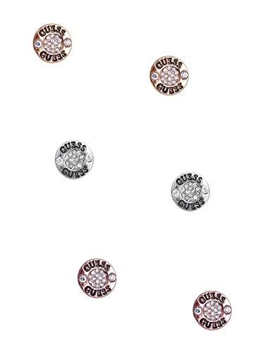 Guess Womens Earring - GUESS Factory Women's Tri-Tone Logo Button Stud Earrings Set