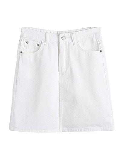 Respirant Skinny Taille Jupe Blanc En Mini Femme Jean PengGeng Haute Crayon Casual wqCpvF