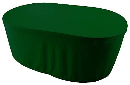 KaufPirat Premium Abdeckplane Oval 180x120x75 cm Gartenmöbel Gartentisch Hülle Abdeckung Haube Schutzhülle Abdeckhaube Tannengrün