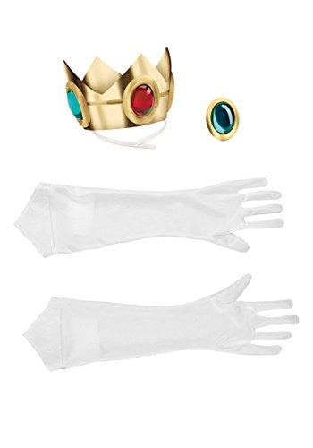 Disguise Women's Nintendo Super Mario Bros.Princess Peach Adult Costume Accessory Kit, Gold/Red/Green/White, One Size - Princess Costumes Accessories
