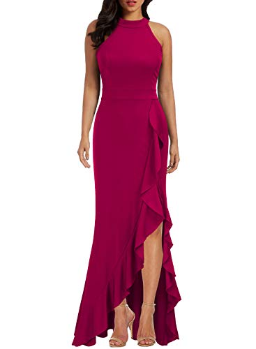 WOOSEA Women's High Neck Split Bodycon Mermaid Evening Cocktail Long Dress Magenta (Long Evening Cocktail)