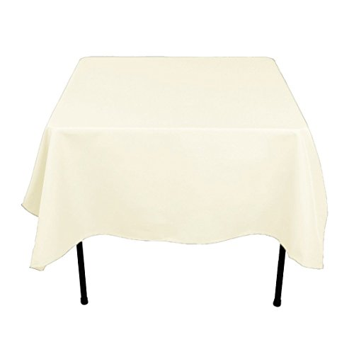 Gee Di Moda Square Tablecloth - 70 x 70 Inch - Ivory Square Table Cloth for Square or Round Tables in Washable Polyester - Great for Buffet Table, Parties, Holiday Dinner, Wedding & More