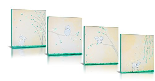 Canvas Rabbit Frame (Animal Friends, Lithograph Canvas Art, Bunny Rabbit, Owl, Bambi Deer, Squirrel, on Green Grass in Green Frame for Baby Nursery, Modern artsy Kids Rooms, Home décor, Wall Art, Set of 4 12 x 12 each)