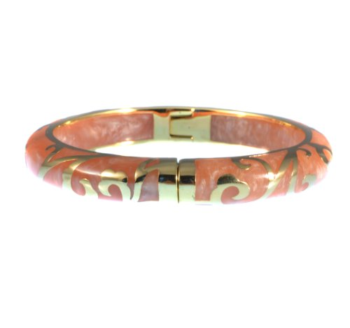 Andrew Hamilton Crawford 18k Gold Plated Scroll Bracelet in Peach Colored Resin (Hamilton 18k Bracelet)