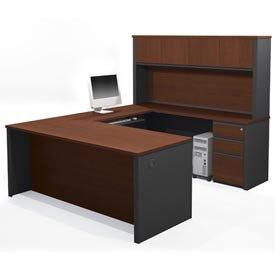 Bestar Prestige + 6-Piece L-Shape Computer Desk in Bordeaux / Graphite - Bordeaux Corner L-shaped Desk