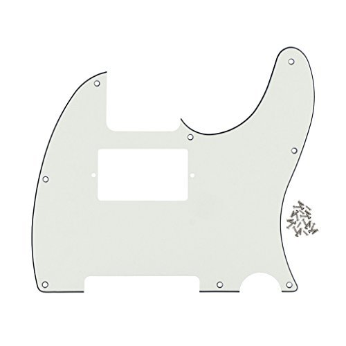 FLEOR 3Ply Ivory White 8 Hole Tele Pickguard Guitar Humbucker Pick Guard HH with Screws Fit USA/Mexican Fender Standard Telecaster ()