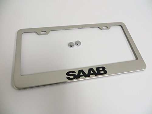Saab Stainless Steel Chrome License Plate Frame Tag Holder with Screw Cap Covers