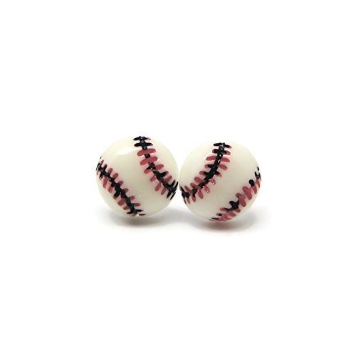 Baseball Earrings on Plastic Posts Metal Sensitive Ears