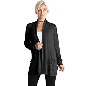 Simlu Long Sleeve Lightweight Cardigan Sweater for Women with Pockets Reg. and Plus Size