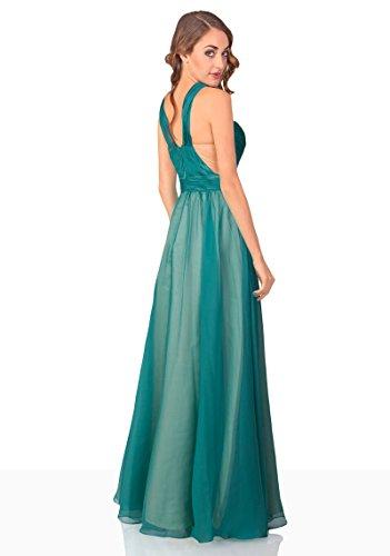 VIP Dress Abendkleid lang / Galakleid Chiffon / Ballkleid in Grün, Größe 38