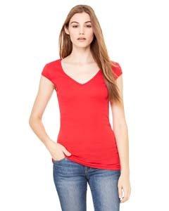 Bella Canvas Ladies' Sheer Mini Rib Cap-Sleeve Deep V-Neck T-Shirt - RED - L