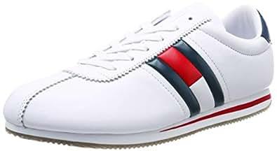 Hilfiger Denim Men's Retro Flag Sneaker Low-Top (White 100), 10 UK-EM0EM00182_100