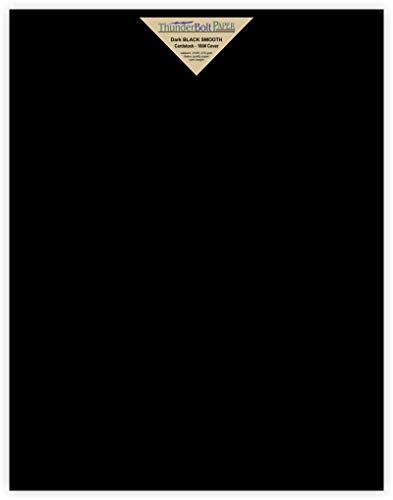 15 hojas de papel liso negro oscuro – 100# (100 lb/libras) – 28 x 35 cm Scrapbook Tamaño de marco de fotos – cubierta...
