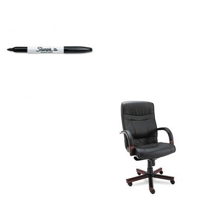 KITALEMA41LS10MSAN30001 - Value Kit - Best Madaris High-Back Knee Tilt Leather Chair w/Wood Trim (ALEMA41LS10M) and Sharpie Permanent Marker (SAN30001) by Best