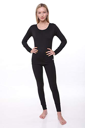 Women Thermal Set, Lightweight Ultra Soft Fleece Shirt and Tights,Black,XX-Large -