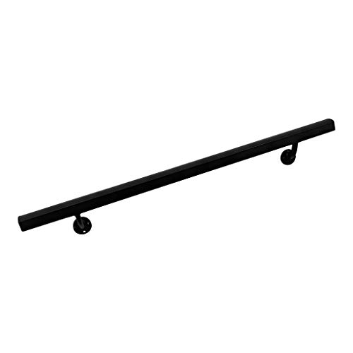 Aluminum Handrail Direct AHR 7' Handrail Section with mounts - Black Sand Texture