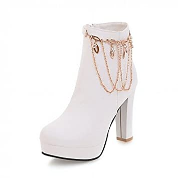 Heart&M Mujer Zapatos Semicuero Primavera Invierno Botas de Moda Botas Tacón Robusto Dedo redondo Botines Hasta