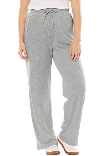 Woman Within Women's Plus Size Sport Knit Straight Leg Pant - Heather Grey, S
