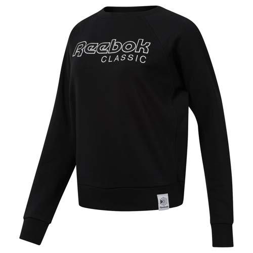 Reebok Women's  Classics Activchill Iconic Sweatshirt, Black/White, Large (Women Reebok Sweatshirt)