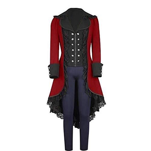 Women's Tuxedo Gothic Tailcoat Jacket Steampunk VTG Victorian Coat Wedding Uniform (S/chest37inch, RED) -
