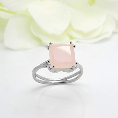 Rose Quartz ring Cocktail ring Natural Gemstone ring love ring delicate ring pink stone ring real gemstone ring sterling silver jewelry
