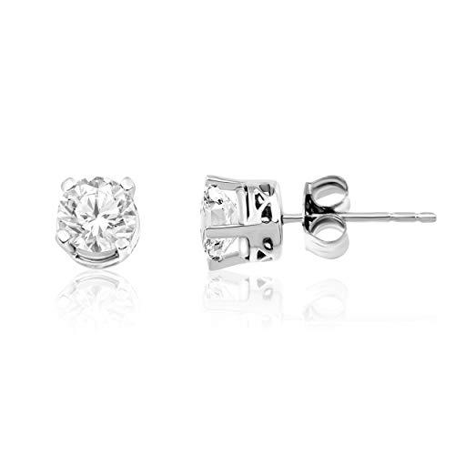 Diamond LAB Grown 1.00Ctw Round Stud Earring in 14K White Gold